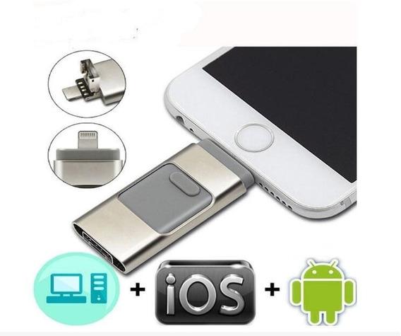 Pendrive 128gb Para Celular Usb, Microusb E Lighting