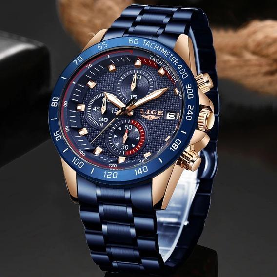 Relógio Esportivo Casual Masculino De Luxo Lige Azul Moderno