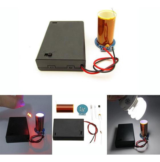 Kit Eletrônica Diy Experimento Escolar Bobina De Tesla Avançado Acender Lampadas