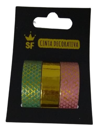 3 Fitas Washi Tape Adesiva Decorativa Artesanato Dourada