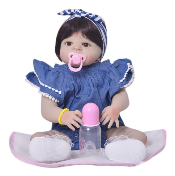 Hj Frete Gratis! Menina Bebe Reborn Silicone Laço Barata M25