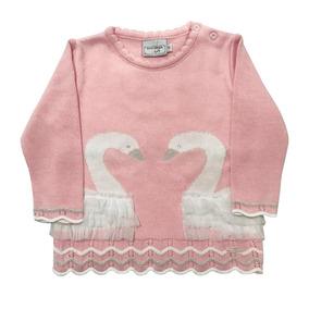 Sweater Bebê Jacquard Blusa Cisne Rosa Claro 51308 Noruega