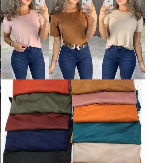 Blusa Blusinha Feminina Suede T- Shirt Moda Promoção