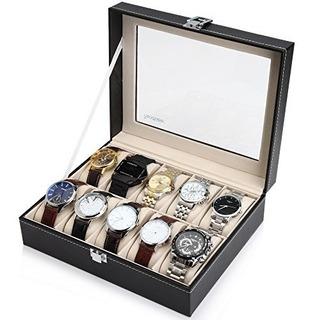 Readaeer Cuero Negro 10 Caja De Reloj Caja Organizador Pa...