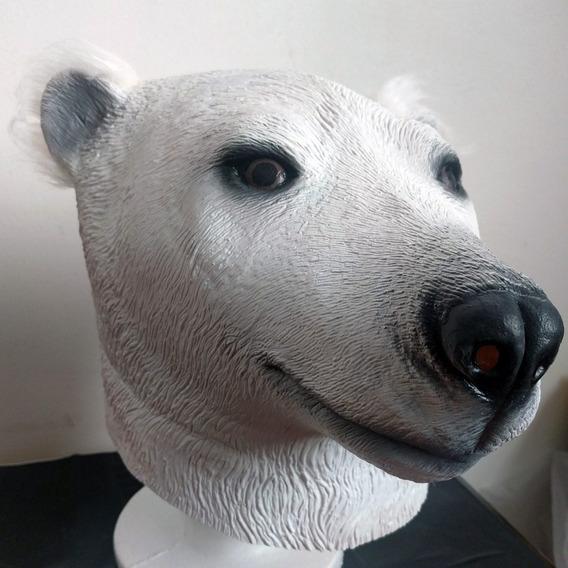 Mascara Latex Oso Polar Blanco Animales Panda Disfraz Adulto