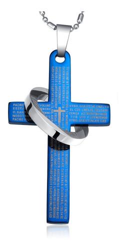 Cruz Anillo Con Padre Nuestro En Español - Color Azul