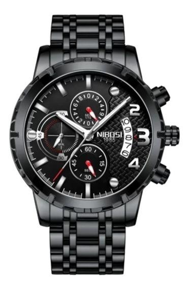Relógio Masculino Preto Ultra Resistente Vidro Hardlex 100% Funcional