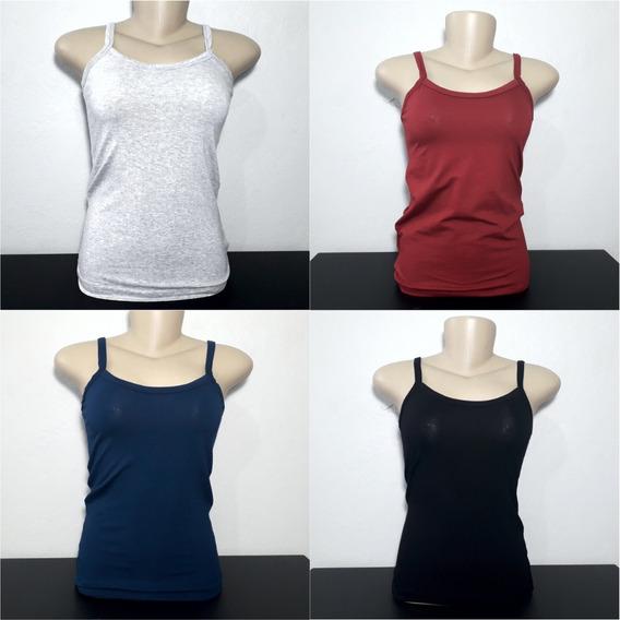 Blusinhas De Alcinha 4 Cores Variadas Camiseta Feminina