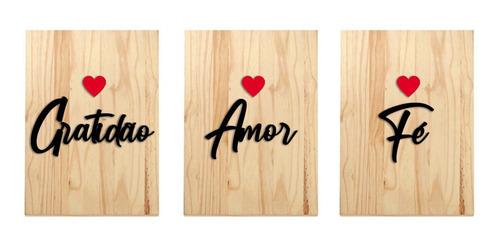 Quadro Decorativo Madeira Frases Gratidão Amor Fé Decoração