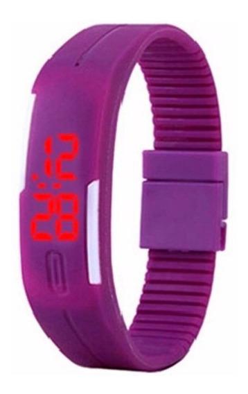 Relógio Led Roxo - Pulseira Ajustável - Unissex