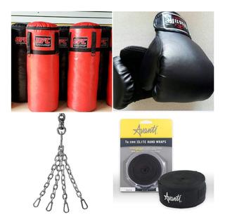 Saco Bolsa Box 1.25mt+guantes+1par Vendas+cadenas Y Ganchos