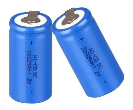 4 Bateria Recarregável Nicd Sub C Sc 1.2v 2200mah Azul