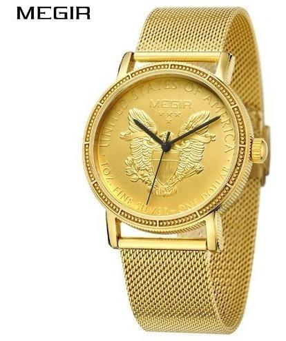 Relógio Pulso Dourado Ouro Dólar Masculino Megir Promoção