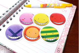 Set De 6 Stickers Circulares Anime Assassination Classroom