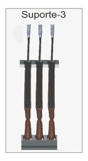 Suporte Expositor Vertical Para 3 Carabinas - Metal