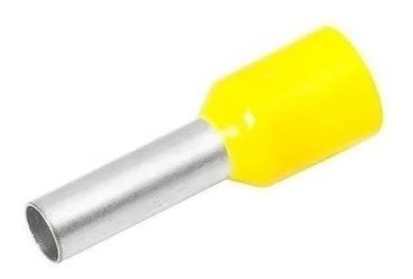 100 Terminal Tubular Ilhós Isolado Amarelo 4.0mm