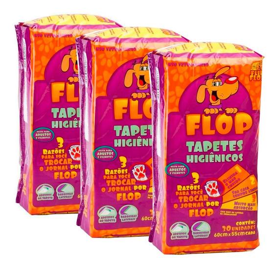 Kit 3 Tapetes Higiênicos Cães Barato Flip Flop 30 Unidades