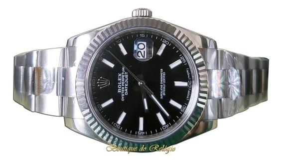 Relógio Eta Modelo Datejust Dial Preto A2824 Aço 904 - Arf