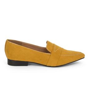 Flats Zapatos Dama Amarillo Costura De Piso 9100