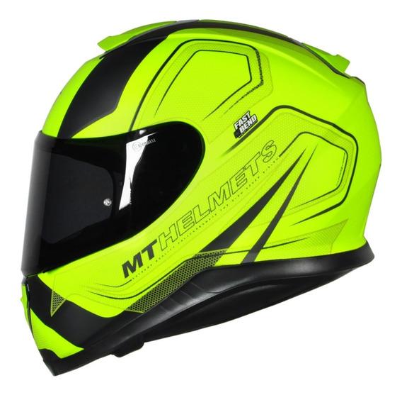 Capacete Motociclista Mt Thunder 3 Trace Yellow Fluor Fosco