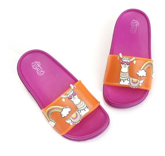 Chinelo Slide Lhama Infantil Feminino Plugt - Pink/laranja