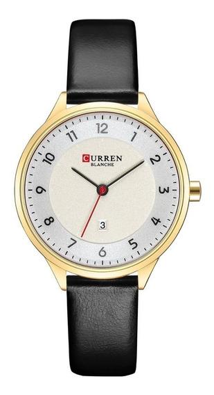 Relógio Curren Feminino Original Couro A Prova D
