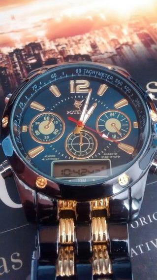 Relógio Masculino Luxo Analógico E Digital Lindo E Barato