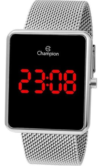 Relógio Feminino Prata Quadrado Champion Led Grande
