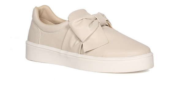 Trender Slip On En Color Marfil Con Moño Frontal Y Suela