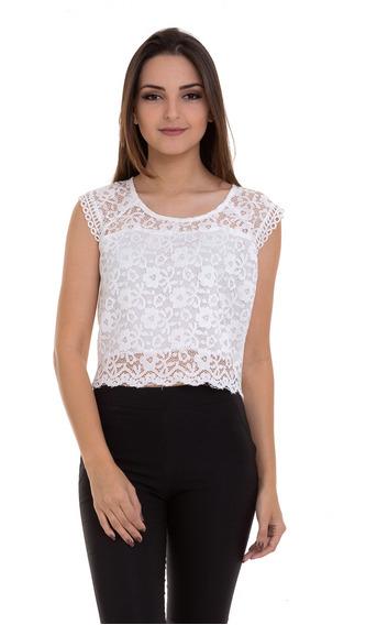 Blusa Cropped Renda Branco Kinara