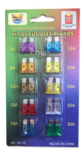 Kit Blister 10 Fusibles Planos Surtidos Auto Camion