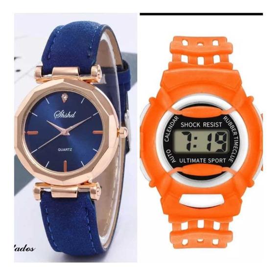 Relógios Femininos Analógicos Quartzo Cristal Shshd + Brinde