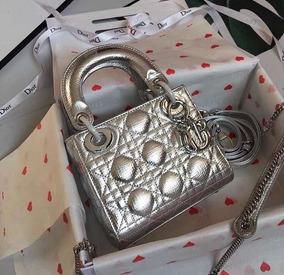 Bolsa Dior Lady Prateada Na Caixa - Pronta Entrega