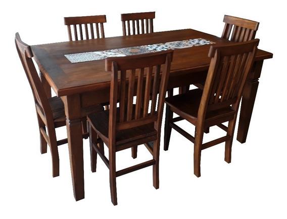 Jogo De Jantar 160x80mt Com 6 Cadeiras Madeira Maciça