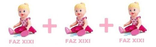 Kit Com 3 Bonecas Little Alive Baby Faz Xixi Brinquedos Toys