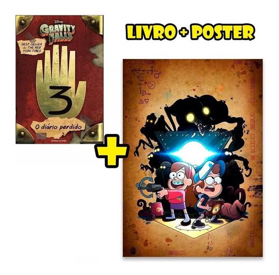 Livro Diário Perdido De Gravity Falls 3 + Poster Promoção