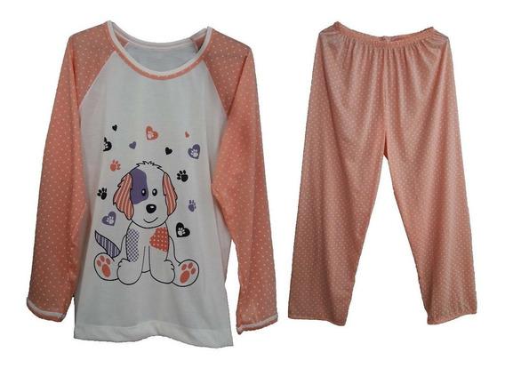 Pijama Feminino Inverno Roupa Dormir Malha Manga Calça Adulto Longo Blusa Frio