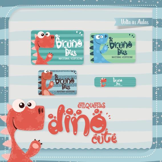 25 Etiquetas Escolares Dino Cute