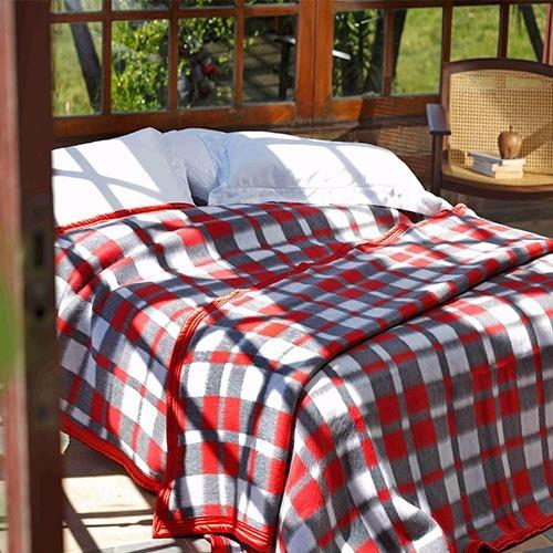 Cobertor Solteiro Guaratinguetá Boa Noite Xadrez Vermelha