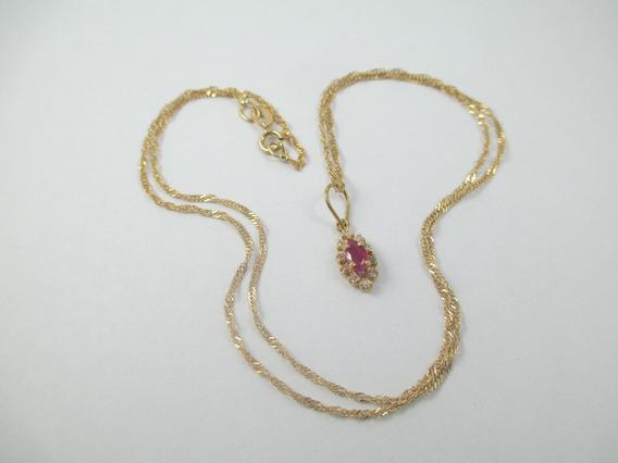 Delicado Colar Em Ouro 18k - 1.95 Gr - Com Diamantes - 45 Cm
