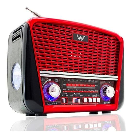 Rádio Retro Vintage Antigo Am Fm Mp3 Lanterna Recarregável
