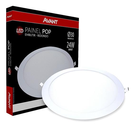 Painel Plafon Led 24w Redondo Embutir Branco Frio Gesso Teto