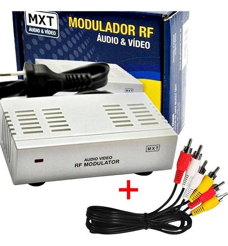 Imagem 1 de 6 de Modulador Rca Audio Video Para Rf Mxt Com Cabo Rca 1,8mt