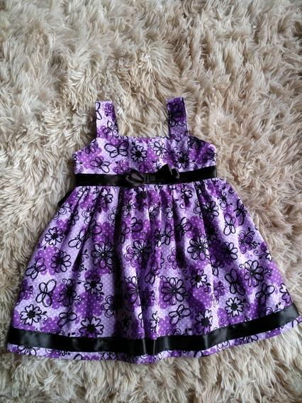Vestido Bebê Tam G Roxo Floral Com. Faixa E Laço Preto