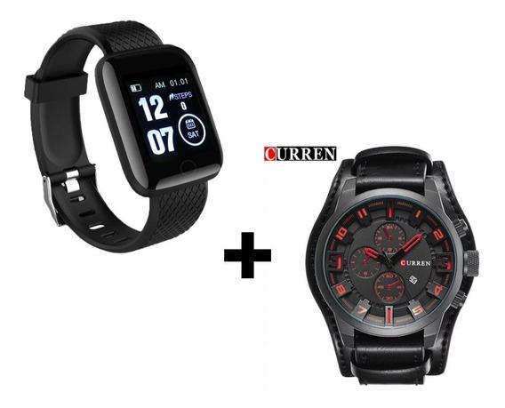 Relógio Inteligente Smartwatch + Relógio Social Couro Oferta