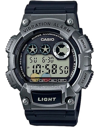 Casio Reloj Alarma Vibratoria 10 Bar 100 Mts Luz Led Resina