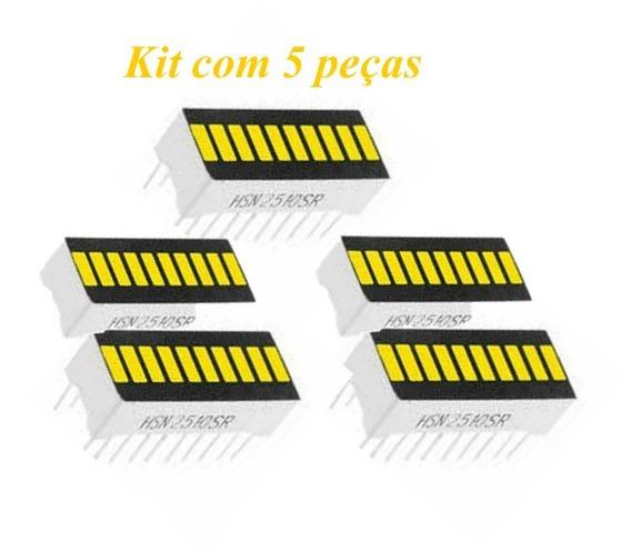 Barra Gráfica Led Amarelo Brilhante Kit Com 5 Peças