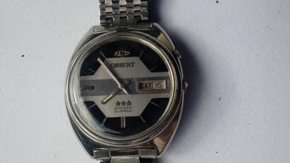 Relógio Orient Automático Preto E Prata Antigo Ótimo Estado