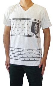 Kit 6 Camisa Camiseta Masculina Gola V Estampada Slim Fit