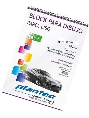 Block Plantec Para Dibujo Papel Liso 210gr 35x50